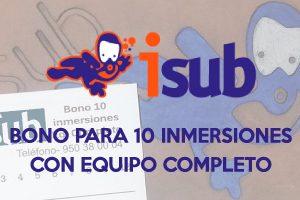 isub INMERSIONES 3 300x200 - Bono para 10 Inmersiones con Equipo Completo